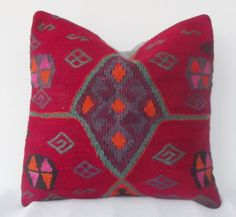 Decorative Kilim Pillow Cover Handwoven Red Green by Sheepsroad, $59.00