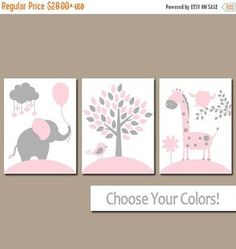 ❘❘❙❙❚❚ ON SALE ❚❚❙❙❘❘     ★PINK GRAY Nursery Wall Art, CANVAS or Prints, Baby Girl Nursery Decor, Elephant Giraffe Tree, Jungle Safari Animals, Set of 3 Crib Artwork  ★Includes 3 pieces of wall art ★Available in PRINTS or CANVAS (see below)  ★SIZING OPTIONS Available from the drop down menu above the add to cart button with prices. >>>  ★PRINT OPTION Available sizes are 5x7, 8x10, & 11x14 (inches). Prints are created digitally and printed with UltraChrome Hi-Gloss ink on professional 68lb…