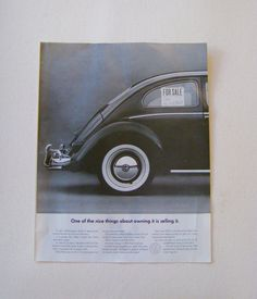 Great Volkswagen FOR SALE vintage advertising art to frame or upcycle or repurpose, use in collage or mix and match with other ads. Black and