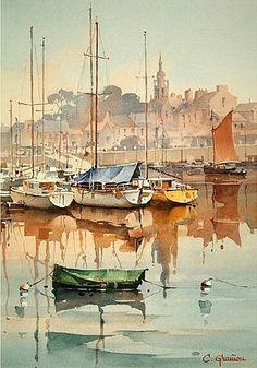 Christian Graniou.1946.Acuarela de la vista de un puerto.