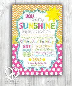 You Are My Sunshine 5x7 Printable Birthday Invitation by PeaceLovePrint #etsy