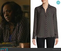 ceeff4360ede28 Annalise s black cube print blouse on How to Get Away with Murder. Outfit  Details