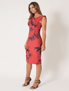 -Literati floral print -Asymmetrical drape neckline -Square back with concealed zipper -Sleeveless -Self: 90% Polyamide, 10% elastane. Lining: 95% Polyester, 5% Spandex -Dry clean only -Made in U.S.A
