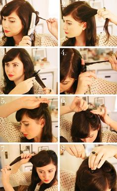 Vintage Hairstyles Retro hair tutorial - Hello again, it's Jessie from Sweet Thing! hairstyles have been all over the fall runways and filling the pages of magazines, so I thought I would share an easy updated version of the classic–the… Vintage Hairstyles Tutorial, 1940s Hairstyles, Hairstyle Tutorials, School Hairstyles, Updo Hairstyle, Wedding Hairstyles, Look Retro, Pin Up Hair, Tips Belleza