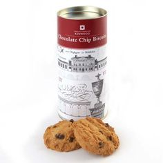 Delicious melt-in-the-mouth chocolate chip biscuits. Tube shows drawings by architect Robert Adam of Kenwood House.  http://www.english-heritageshop.org.uk/food-drink/kenwood-chocolate-chip-biscuits