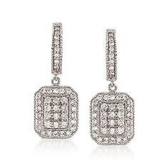 Ross-Simons - 1.00 ct. t.w. Diamond Drop Earrings In 14kt White Gold - #779589