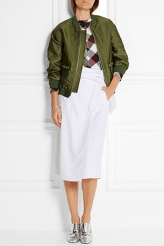 Army-green satin-twill, black and white poplin Two-way zip fastening through front Fabric1: 88% polyester, 12% silk; fabric2: 58% polyester, 42% cotton; trim: 86% viscose, 14% elastane Dry clean Imported