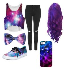 """""""Galaxy """" by imy-lynk ❤ liked on Polyvore featuring Topshop, Uncommon and Vans"""