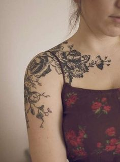 Image result for tattoo flowers arm shoulder