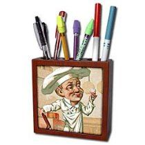 Chef With Wine - Tile Pen Holders