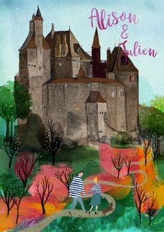 Hand painted wedding invitation . The lucky in love couple walking with their cat up to their venue Chateau de Menthon St. Bernard. #Chateau de Menthon St. Bernard #wedding invitation #hand painted #bespoke #custom
