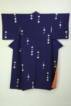Navy Blue Komon / 紺藍色地 飛びの抽象柄 小紋 #Kimono #Japan http://www.rakuten.co.jp/aiyama/