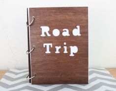 6X8 Wood road trip travel journal/ mini album. $24.00, via Etsy.