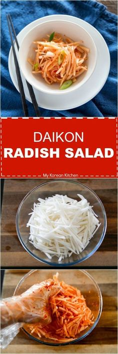 Korean Style Daikon Radish Salad Its crunchy spicy and delicious A popular Korean side that can be made within 15 mins via mykoreankitchen Radish Recipes, Asian Recipes, Ethnic Recipes, Korean Radish Kimchi Recipe, Korean Pickled Radish, Korean Side Dishes, Korean Kitchen, Radish Salad, Kitchen