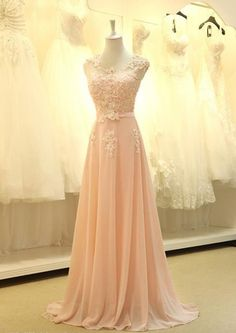 A Line Beadings Sleeveless Elegant Lace Sash Sweep Train Long Bridesmaid Dress - My Wedding Ideas