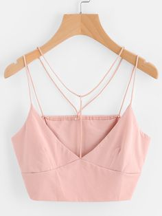 ¡Cómpralo ya!. Strappy Crop Cami Top. Pink Polyester Sexy Vacation Plain Spaghetti Strap Fabric has some stretch Summer YES Tank Tops & Camis. , topcorto, croptops, croptop, croptops, croptop, topcrop, topscrops, cropped, topbailarina, corto, camisolacorta, crop, croppedt-shirt, kurzestop, topcorto, topcourt, topcorto, cortos. Top corto  de mujer   de SheIn.