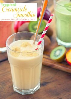 Delicious tropical creamsicle smoothie recipe for a Baby Shower via Kara's Party Ideas @HUGGIES Baby Shower Planner Baby Shower Planner