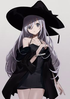Anime picture with original urata asao long hair single tall image looking at viewer breasts fringe simple background white background bare shoulders standing silver hair payot parted lips bare legs head tilt grey eyes open jacket hand on chest Anime Oc, Dark Anime, Anime Chibi, Manga Anime, Manga Girl, Anime Girl Neko, Anime Art Girl, Anime Girls, Anime Witch
