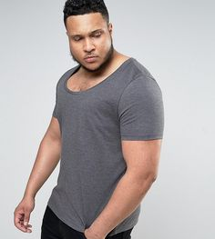 ASOS PLUS T-Shirt With Deep Scoop Neck In Charcoal - Gray