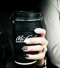 #nails #hybridnails #mccafe #sephora #sephoranails #blackandeshitenails #paznokcie #hybryda #nailsidea