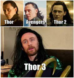 As Thor's hair gets shorter, Loki's hair gets longer. Marvel Dc, Marvel Comics, Heros Comics, Funny Marvel Memes, Dc Memes, Avengers Memes, Marvel Jokes, Funny Memes, Loki Thor