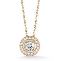 Round Brilliant 1.00 ctw VS2 Clarity, I Color Diamond 18kt Yellow Gold Necklace