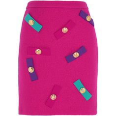 Boutique Moschino Embellished wool-crepe mini skirt (2.547.705 IDR) ❤ liked on Polyvore featuring skirts, mini skirts, fuchsia, short skirts, embellished mini skirt, multi colored skirt, colorful skirts and fuschia skirt