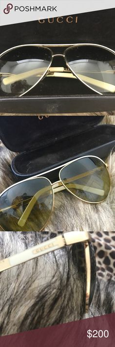 GUCCI Authentic Aviator Sunglasses White & Gold Authentic Gucci aviator sunglasses, white and gold rims and an amber tonight to the UV-protective glass. Gucci name in gold along arm of glasses. The sunglasses come in their original black hard case with the name on top and inside. Gucci Accessories Sunglasses