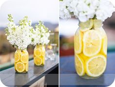 Love this idea. Stuff a mason jar with lemon slices. Add water and flowers. Must try this