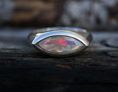 Opal Ring Size 8  Engagement Ring Alternative  by NaturalRockShop