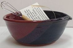 """Handmade pottery microwaveable egg omelet bowl with whisk and recipe. Just spray bowl with a nonstick cooking spray then follow recipe. Works great for whipping eggs and other liquids. *2.5"""" tall ad 5"""" across the top. Sizes are approximate and slightly * Holds 8 to 10 ounces * Oven,... see more details at https://bestselleroutlets.com/home-kitchen/kitchen-dining/bakeware/product-review-for-handmade-pottery-egg-omelet-bowl-with-whisk-and-recipe-traditions-pottery/"""