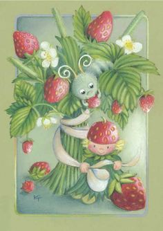 Strawberries by Kaarina Toivanen Strawberry Decorations, Funny Drawings, Pretty Images, Strawberry Fields, Gif Animé, Fruit Art, Art Themes, Heart Art, Kids Cards