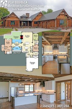 Rustic Mountain House Plan Love separate wing for MBedroom--for quietness and privacy.  Consider a second floor for bedrooms 2&3.  Plus moving laundry to that wing.