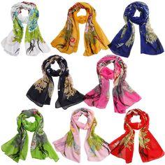 Fashion Women's Peacock Print Long Soft Chiffon Scarf Wrap Shawl Stole Scarves #Unbranded #Scarf