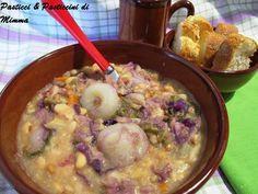 zuppa di fagioli con verza e cavolo viola