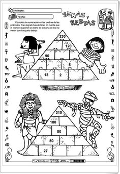 Pirámide de números (Actiludis.com) Math Enrichment, Math Literacy, Math Classroom, Teaching Math, Ancient Egypt Crafts, Ancient Egypt For Kids, Maths Puzzles, Math Worksheets, Educational Activities For Kids