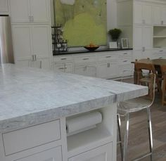 This is Princess White granite. I had never heard of it until I started searching for white/gray granite. This is the light version and if you search you can find some darker (too blotchy for me) slabs as well. - Fox Home Design Grey Granite Countertops, White Granite Kitchen, Kitchen Countertops, Gray Granite, New Kitchen, Kitchen Dining, Kitchen Decor, Kitchen Ideas, Dining Room