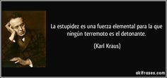 La estupidez es una fuerza elemental para la que ningún terremoto es el detonante. (Karl Kraus)
