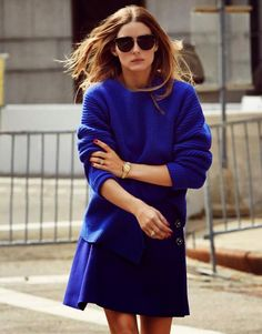 Olivia Palermo in bright blue outfit