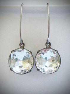 Solitaire Drop Earrings, Rhinestone