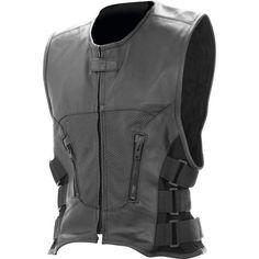 Black Medium Motorcycle Vest Genuine Leather Buffalo Side Straps free shipping #mountainhides