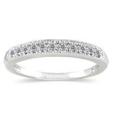 1/10 Carat Diamond Wedding Band in 10K White Gold - RGF123407.0