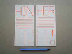 Weiteres - HIN & HER, Postkarte, 2er-Set, Din lang, Siebdruck - ein Designerstück von BobAndUncle bei DaWanda