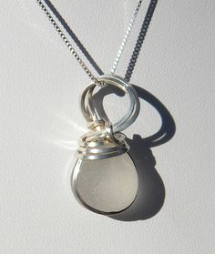 Wire Wrapped Sea Glass Necklace Frosty Snow by OceanEdgeDesigns, $60.00