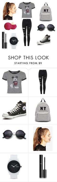 """""""Grey and black ♥"""" by kikusqa-123 on Polyvore featuring Topshop, Converse, Joshua's, ASOS, Nixon, Chanel and Eos"""