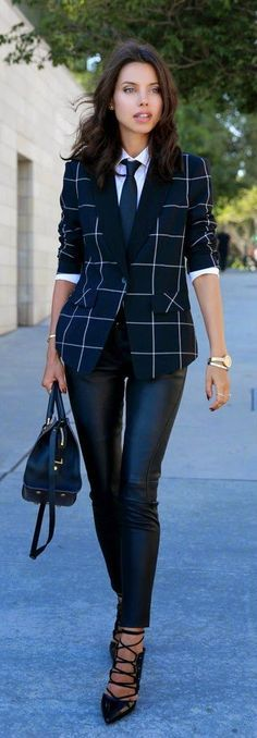 Chic Plaid Blazer with Black Leather Pant and Lace Heels | Street Styles Outfits