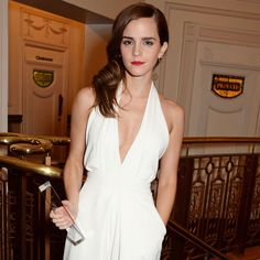 Emma Watson looking stunning in our ivory crepe jumpsuit whilst collecting her British Style Icon Award.