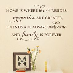 'Home Is' Quote Wall Sticker - living room