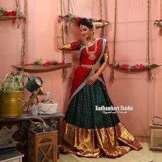 'Raaga' Collection from house of Kadhambari This out fit is Available from house of Kadhambari. Lehenga Saree Design, Half Saree Lehenga, Saree Gown, Lehnga Dress, Lehenga Designs, Sari, Lehanga Saree, Lehenga Style, Lahenga