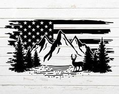 Silhouette Clip Art, Silhouette Projects, American Flag Drawing, American Flag Decal, Paper Cutting, Hunting Decal, Hog Hunting, Mountain Silhouette, Tree Svg